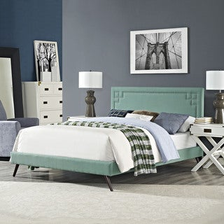 Josie Laguna Fabric Platform Bed with Round Splayed Legs