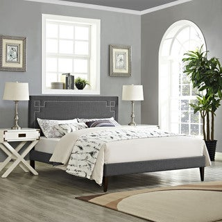 Josie  Grey Fabric Platform Bed with Squared Tapered Legs