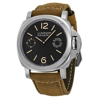 Panerai Men's PAM00590 'Luminor Marina 1950 Acciaio' 8 Days Hand Wind Brown Leather Watch