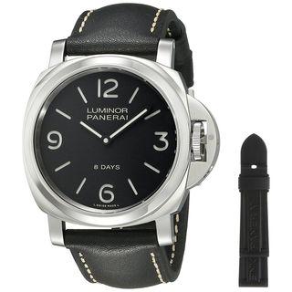 Panerai Men's PAM00560 'Luminor Base Acciaio' 8 Days Hand Wind Black Leather Watch