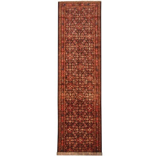 Herat Oriental Persian Hand-knotted Tribal Hamadan Wool Runner (4' x 15')