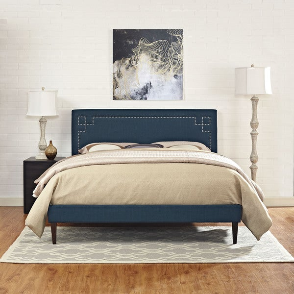 Josie Azure Fabric Platform Bed with Squared Tapered Legs