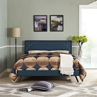 Josie Azure Fabric Platform Bed with Round Splayed Legs