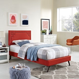 Josie Atomic Red Fabric Platform Bed with Round Splayed Legs