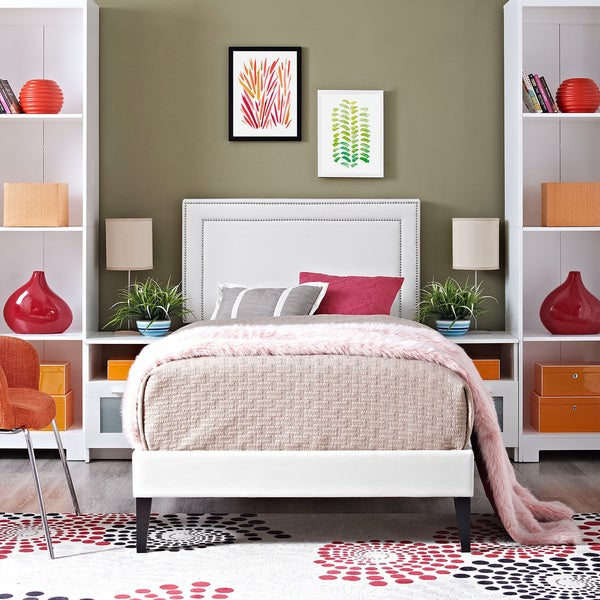Jessamine Vinyl Platform Bed with Squared Tapered Legs in White