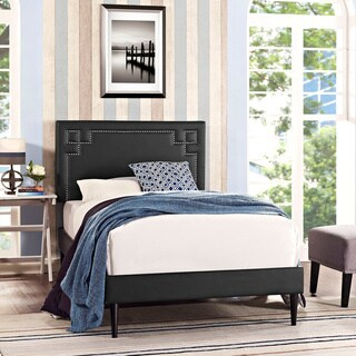 Josie Black Vinyl Platform Bed with Round Tapered Legs