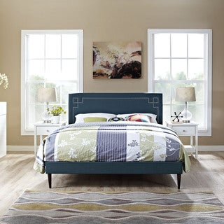 Josie Azure Fabric Platform Bed with Round Tapered Legs