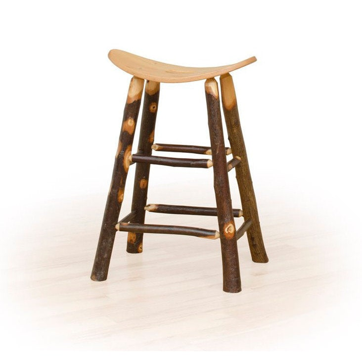 Rustic 30 Inch Bar Stool Saddle - Hickory & Oak or All Hi...