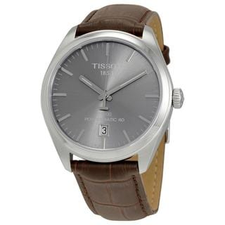 Tissot Men's T1014071607100 'PR 100' Automatic Brown Leather Watch