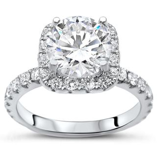 Certified Noori 14k White Gold 1 4/5ct TDW Round Diamond Enhanced Engagement Ring (G-H, SI1-SI2)