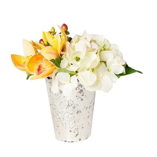 Shop Cream Silk Hydrangeas And Orchid In Vintage Mercury Glass On