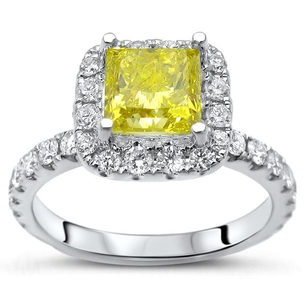 Certified Noori 14k White Gold 1 4/5ct TDW Yellow Princess-cut Diamond Engagement Ring