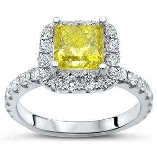 Certified Noori 14k White Gold 1 4/5ct TDW Yellow Princess-cut Diamond Engagement Ring