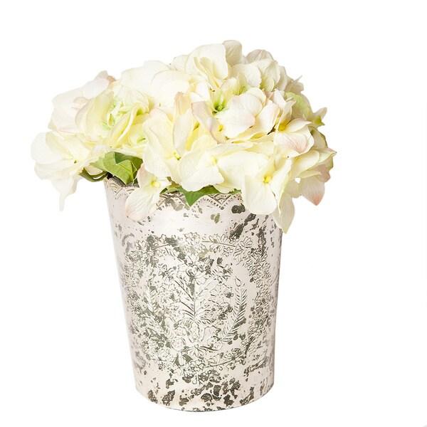 Cream Hydrangeas in Vintage Mercury Glass Vase