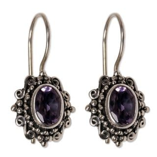 Handcrafted Sterling Silver 'Nature's Mirrors' Amethyst Earrings (Indonesia)
