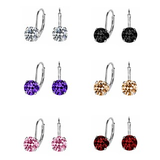 Sterling Silver Dangling 7 mm Cubic Zirconia Solitaire Dangling Earrings