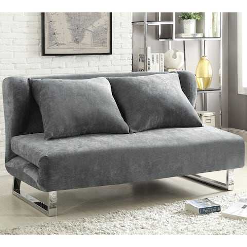 Wingback Design Grey Velvet Convertible Sofa Queen Bed Sleeper with Chrome Legs