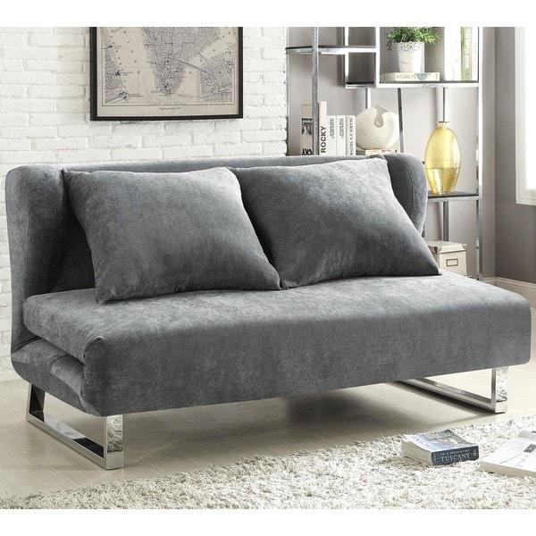 Shop Wingback Design Grey Velvet Convertible Sofa Queen Bed Sleeper ...
