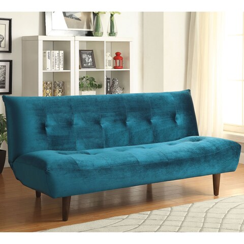 Tufted Design Convertible Sofa Bed with Wood Legs