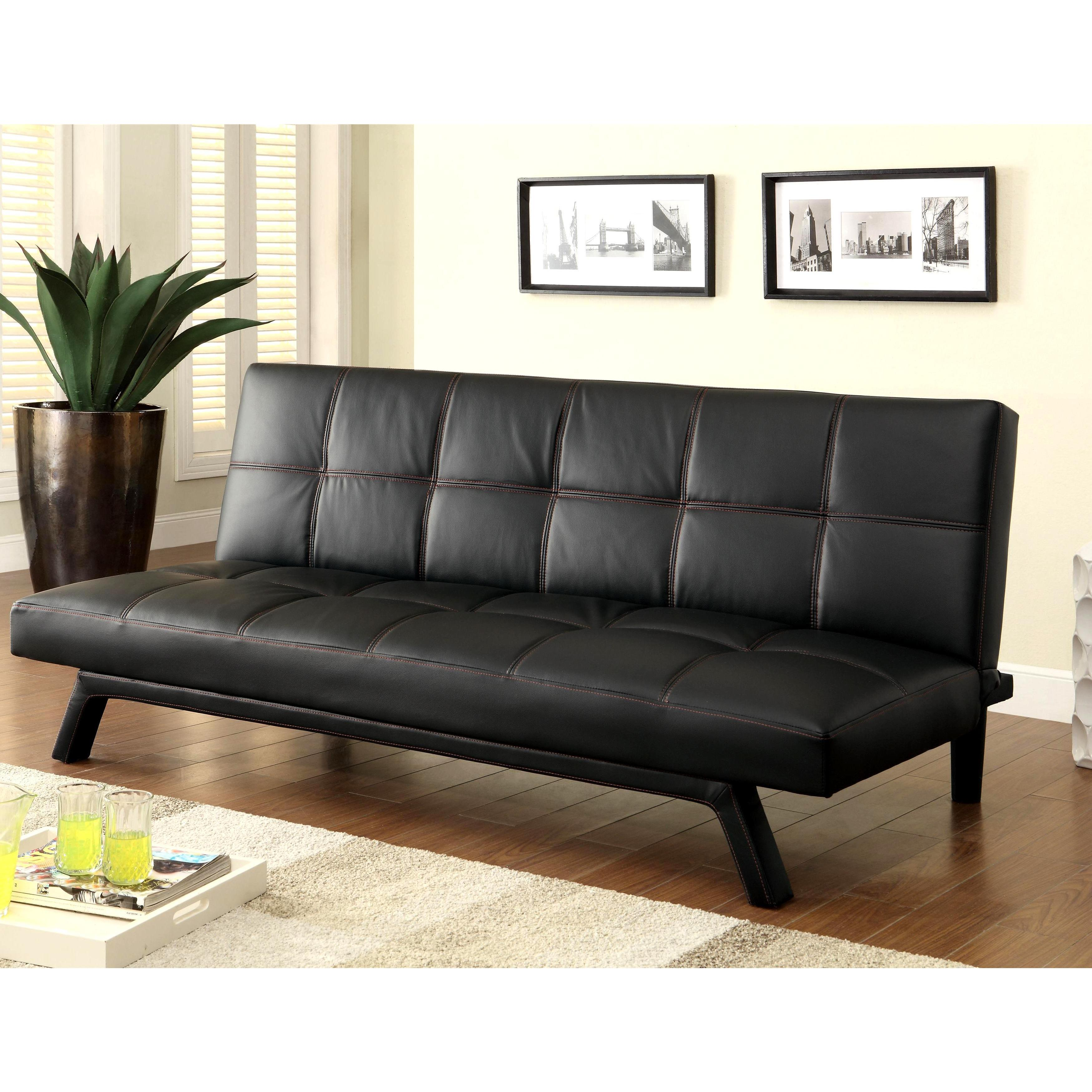 Retro Design Black with Red Stitching Convertible Sofa Sl...