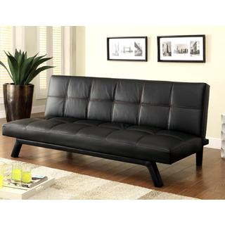 Retro Design Black with Red Stitching Convertible Sofa Sleeper Bed
