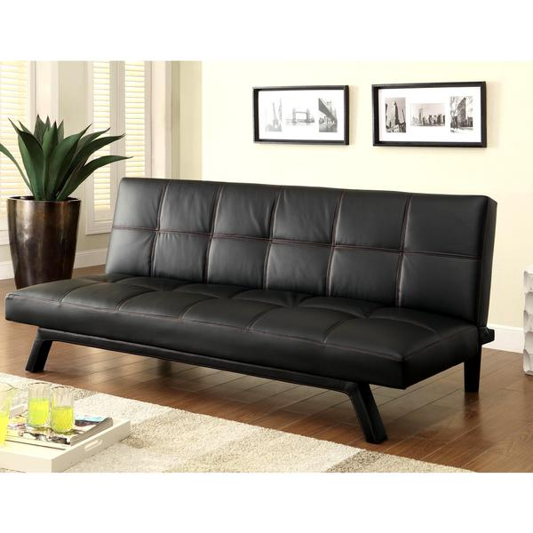 Retro Design Black With Red Sching Convertible Sofa Sleeper Bed