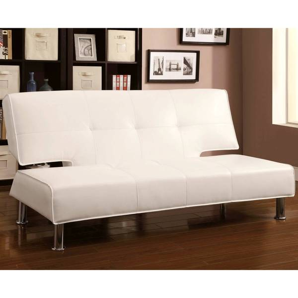 Modern Design Cream/ White Convertible Sofa Bed Futon