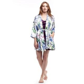 La Cera Women's Satin Lilac Print Wrap Robe