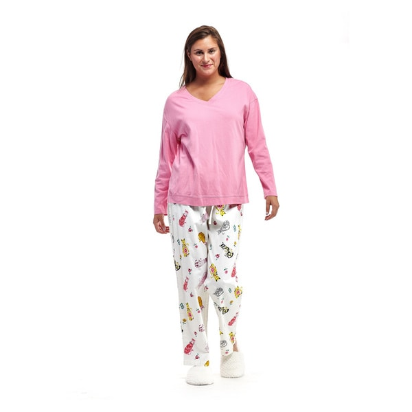 8297770845 Shop La Cera Women s White Cotton Cat Print Pajama Set - Free ...