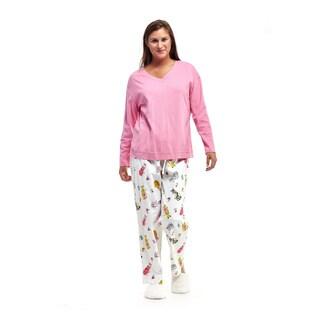 La Cera Women's White Cotton Cat Print Pajama Set