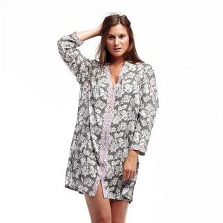 La Cera Women's Grey Rayon/Jacquard Printed Sage Sleepshirt