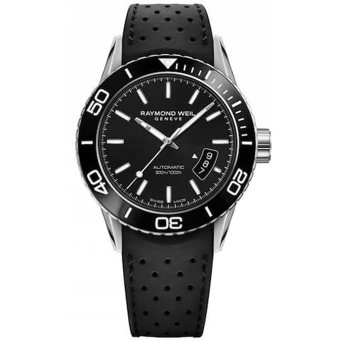 Raymond Weil Men's 2760-SR1-20001 'Freelancer' Automatic Black Rubber Watch