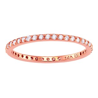 Beverly Hills Charm 14K Pink Gold 1/3ct TDW Diamond Stackable Eternity Band