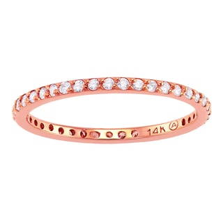 14k Pink Gold 1/3ct TDW Diamond Stackable Eternity Band