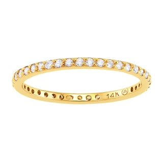 Beverly Hills Charm 14K Yellow Gold 1/3ct TDW Diamond Stackable Eternity Band