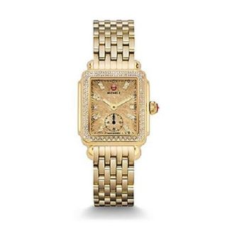 Michele Women's MWW06V000084 'Deco 16' Diamond Gold-Tone Stainless Steel Watch