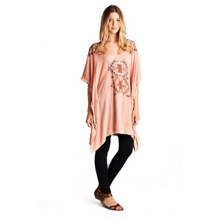 Spicy Mix Women's Farren Blue/Pink Rayon Embroidered Crinkle Poncho Fringed Hem Top
