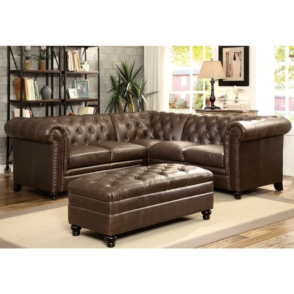 shop royal mid century button tufted design living room sectional sofa with decorative nailhead. Black Bedroom Furniture Sets. Home Design Ideas