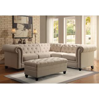 Royal Mid-Century Button Tufted Design Living Room Sectional Sofa with Decorative Nailhead Trim