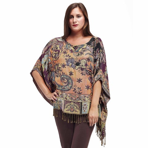 La Cera Women's Multicolored Rayon Beaded Tapestry Poncho