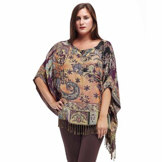 La Cera Women's Multicolored Rayon Beaded Tapestry Poncho