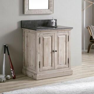 Infurniture 31-inch Rustic Grey Limestone Single-sink Bathroom Vanity