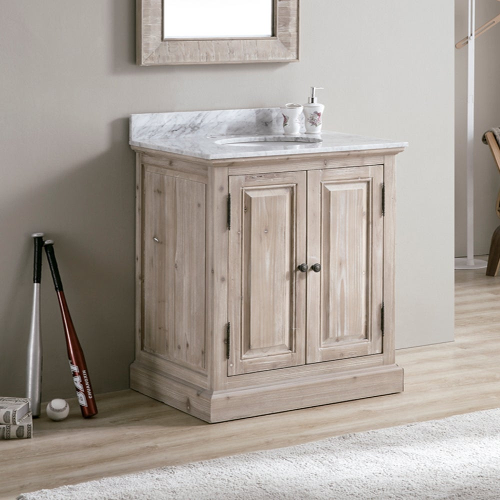 Infurniture 31-inch Wood/White Carrara Top/Ceramic Oval S...