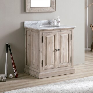 Infurniture 31-inch Wood/White Carrara Top/Ceramic Oval Single-sink Bathroom Vanity