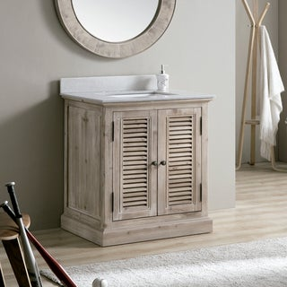 31-inch White Quartz Marble Top Single Sink Bathroom Vanity