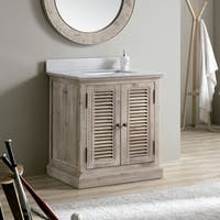 31-inch White Quartz Marble Top Single Sink Bathroom Vanity