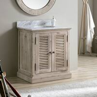 Infurniture 31-inch Driftwood/White Carrara Top/Ceramic Oval Sink Bathroom Vanity