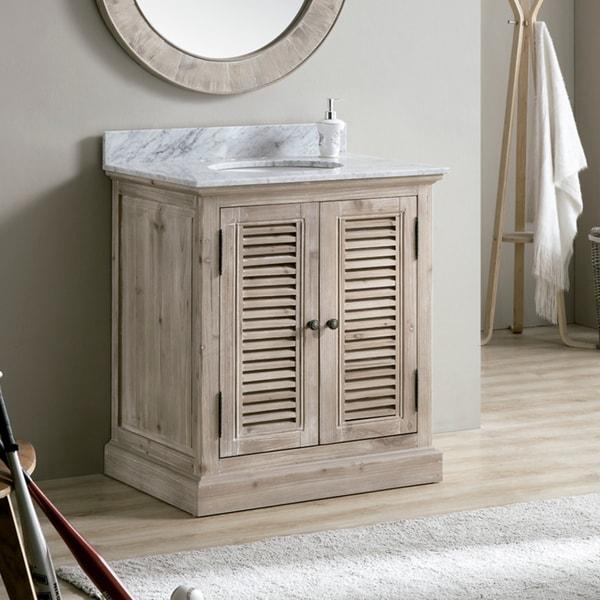 shop infurniture 31 inch driftwood white carrara top ceramic oval sink bathroom vanity free. Black Bedroom Furniture Sets. Home Design Ideas
