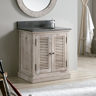 Infurniture 31-inch Matte Grey Limestone Single-sink Bathroom Vanity