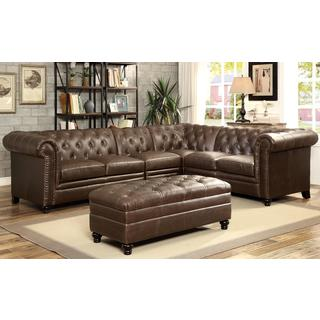 Royal Mid-Century Button Tufted Design Living Room Extended Sectional Sofa with Decorative Nailhead Trim